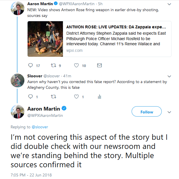 WPXI and KDKA run false reports about the Antwon Rose killing